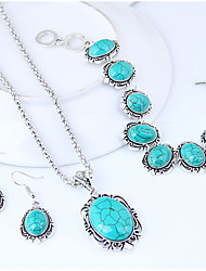 cheap -Women's Jewelry Set 1 Necklace / 1 Bracelet / Earrings - Vintage / Fashion / European Geometric Turquoise Jewelry Set For Causal