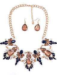cheap -Women's Synthetic Sapphire Jewelry Set - Classic, Fashion, Statement Include Drop Earrings / Collar Necklace Dark Blue / Red For Party / Evening Party