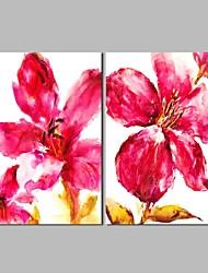 abordables -Pintura al óleo pintada a colgar Pintada a mano - Abstracto Floral / Botánico Clásico Lona