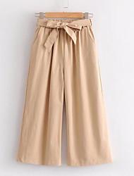 cheap -Women's Plus Size Cotton Loose Wide Leg Pants - Solid Colored Bow High Waist