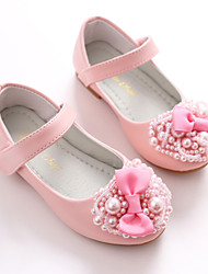 cheap -Girls' Shoes Leatherette Spring Fall Flower Girl Shoes Ballerina Flats Bowknot Magic Tape for Wedding Party & Evening White Pink