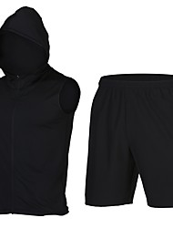 abordables -Homme Tee-shirt et Shorts de course Sans Manches Séchage rapide Cuissard  / Short pour Mélange polyester / coton Noir L / XL / XXL