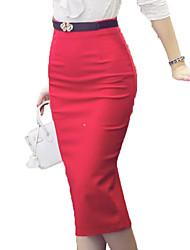 preiswerte -Damen Übergrössen Ausgehen Festtage Bodycon Röcke - Solide Patchwork Hohe Taillenlinie