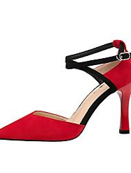 preiswerte -Damen Schuhe Wildleder Frühling Herbst Komfort High Heels Stöckelabsatz Geschlossene Spitze für Büro & Karriere Schwarz Beige Grau Rot
