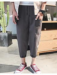 Недорогие -нормальный средний рост мужчин>75% брюки из гарема, старинная прочная проверка хлопка льняное бамбуковое волокно акриловая пружина