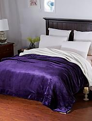 Недорогие -Коралловый флис, Пигментная печать Однотонный Акриловые волокна одеяла