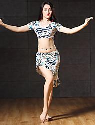 abordables -Danza del Vientre Accesorios Mujer Rendimiento Licra Diseño / Estampado Fruncido Manga Corta Cintura Baja Faldas Top