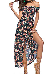 cheap -Women's Basic Swing Dress - Floral, Split Print