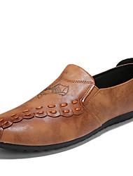 baratos -Homens sapatos Couro Primavera Verão Conforto Mocassins e Slip-Ons para Casual Ao ar livre Preto Cinzento Khaki