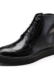 baratos -Homens sapatos Pele Pele Napa Outono Inverno Coturnos Conforto Botas Botas Curtas / Ankle para Casual Preto Marron