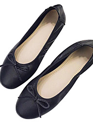 cheap -Women's Shoes Nappa Leather Spring Summer Comfort Loafers & Slip-Ons Flat Heel Closed Toe Round Toe Bowknot for Wedding Casual Gold Black