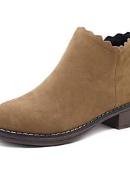 preiswerte -Damen Schuhe Kaschmir Winter Reitstiefel Stiefel Blockabsatz Runde Zehe Mittelhohe Stiefel für Schwarz Braun