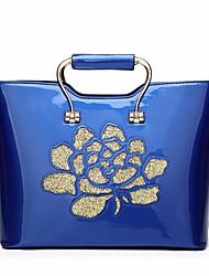 baratos -Mulheres Bolsas PU Bolsa de Ombro Estampa Azul / Preto / Vinho