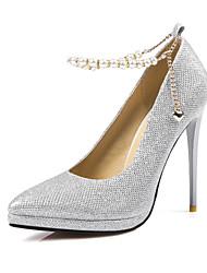 preiswerte -Damen Schuhe Glitzer Paillette Frühling Sommer Pumps High Heels Stöckelabsatz Spitze Zehe für Hochzeit Party & Festivität Schwarz Silber