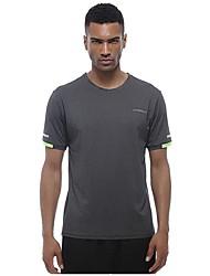 abordables -Homme Tee-shirt de Course Manches Courtes Respirabilité Tee-shirt pour Exercice & Fitness Polyester Gris foncé L / XL / XXL