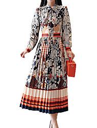 abordables -Femme Vacances Bohème Mince Gaine Balançoire Robe - Plissé Imprimé, Fleur Mao Midi