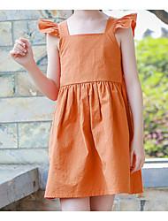 abordables -Robe Fille de Quotidien Couleur Pleine Coton Eté Sans Manches simple Orange
