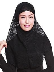 Недорогие -Жен. Для вечеринки Хиджаб - Кружева Кружева, Однотонный