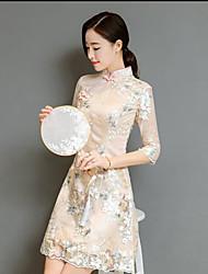 baratos -Mulheres Temática Asiática Reto Vestido Floral Acima do Joelho