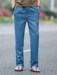 cheap -Men's Linen Straight Pants - Solid Colored