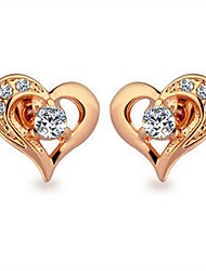 cheap -Women's Cubic Zirconia Stud Earrings - Gold Plated Heart Bohemian, Korean, Boho Gold For Party / Gift