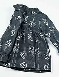 abordables -Robe Fille de Quotidien Fleur Polyester Printemps Manches Longues Rétro Marron Gris