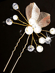cheap -Imitation Pearl Copper wire Hair Stick with Imitation Pearl Crystal Detailing 1pc Wedding Headpiece