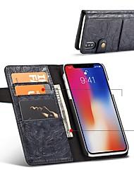 Недорогие -Кейс для Назначение Apple iPhone X iPhone 8 Бумажник для карт Защита от удара Флип Чехол Сплошной цвет Твердый Кожа PU для iPhone X