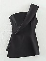 cheap -Women's Cotton Blouse - Solid Colored Halter