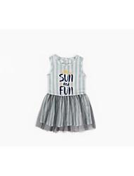 cheap -Girl's Daily Solid Dress, Cotton Linen Bamboo Fiber Acrylic Spring Sleeveless Simple Vintage Gray