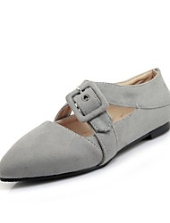 cheap -Women's Shoes Nubuck leather Spring / Fall Comfort Flats Flat Heel Pointed Toe Buckle Black / Gray / Red