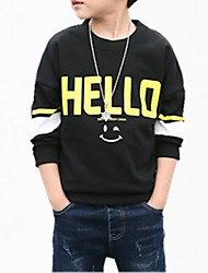 cheap -Boys' Floral Hoodie & Sweatshirt, Cotton Spring Simple Black