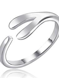 baratos -Mulheres Geométrica cuff Anel - Liga Simples, Fashion Ajustável Prata Para Diário / Escritório e Carreira