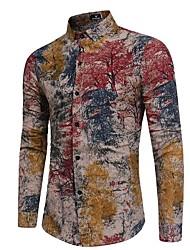 baratos -Homens Camisa Social Moda de Rua Básico, Estampa Colorida Algodão Delgado / Manga Longa