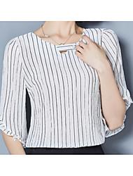 cheap -Women's Basic Cotton Slim Blouse - Striped