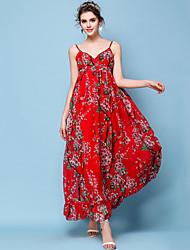 cheap -Women's Beach Boho Slim Chiffon Swing Dress - Floral, Pleated Print Maxi Strap
