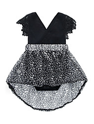 cheap -Baby Girls' Daily Going out Leopard One-Pieces, Cotton Acrylic Spring Summer Vintage Cute Short Sleeve Black