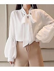 Недорогие -Жен. Бант Рубашка Воротник-стойка Уличный стиль Однотонный / Шнуровка