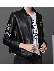 Недорогие -Жен. Кожаные куртки Очаровательный - Однотонный