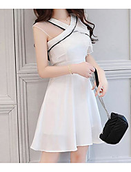 cheap -Women's Basic Puff Sleeve A Line Dress - Solid Colored Lace V Neck