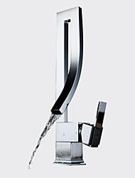 Недорогие -Современный По центру Водопад Керамический клапан Одно отверстие Одной ручкой одно отверстие Хром, Ванная раковина кран