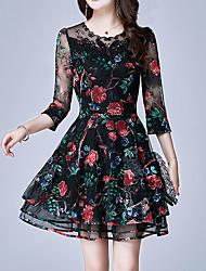 baratos -Mulheres Tamanhos Grandes Feriado Sofisticado Delgado Bainha Vestido - Bordado, Floral Acima do Joelho