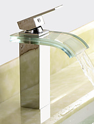 cheap -Contemporary Centerset Waterfall Ceramic Valve One Hole Single Handle One Hole Chrome, Bathroom Sink Faucet