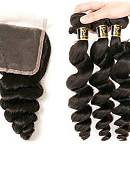 cheap -Brazilian Hair Loose Wave 4 Bundles Human Hair Weaves Designers / Hot Sale Natural Black Human Hair Extensions All