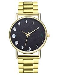 baratos -Homens Chinês Mostrador Grande / Punk / Fase da lua Aço Inoxidável Banda Vintage / Relógios com Palavras Dourada