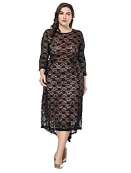 cheap -Women's Vintage A Line Swing Dress - Solid Colored, Lace