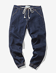 Недорогие -мужские штаны среднего роста с микро-эластичными джинсовыми брюками, простая сплошная полиэфирная / хлопковая смесь весна
