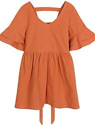 abordables -Robe Fille de Quotidien Couleur Pleine Coton Printemps Demi Manches simple Mignon Orange