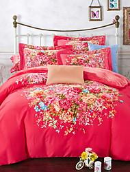 abordables -Ensembles housse de couette Fleur 4 Pièces Polyester/Coton 100% Coton Imprimé Polyester/Coton 100% Coton 1 x Housse de couette 2 x Taies