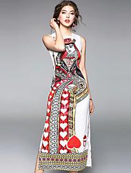 abordables -Femme Chinoiserie Gaine Robe - Imprimé, Fleur
